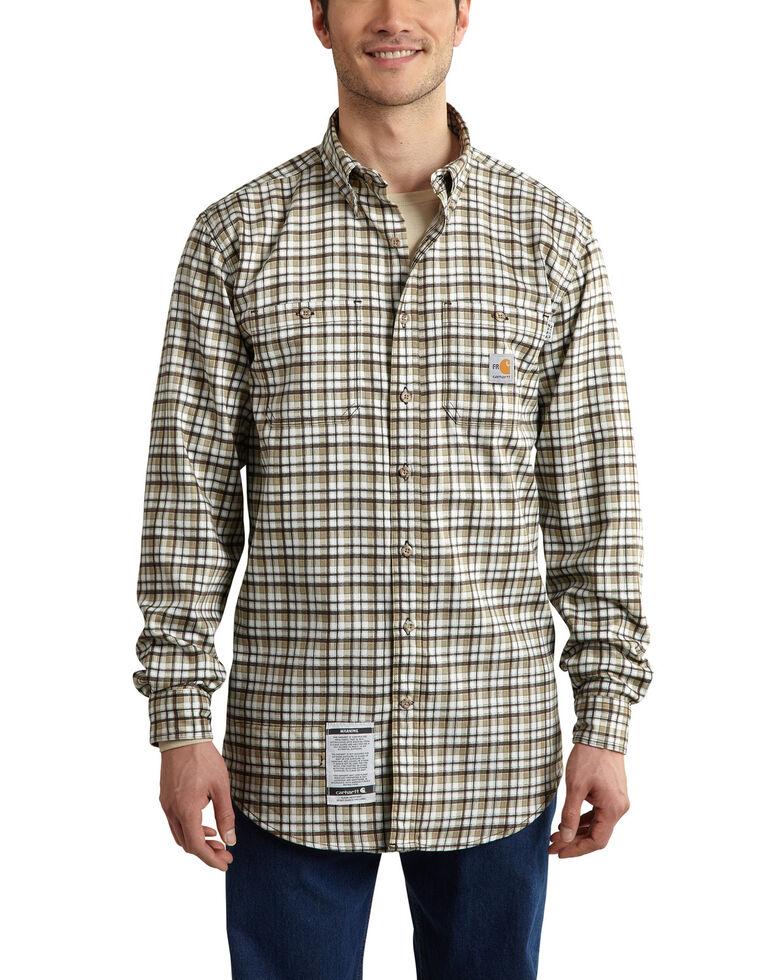 Carhartt Men's Flame Resistant Classic Plaid Shirt - Big & Tall, Beige, hi-res