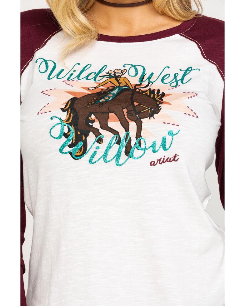 Ariat Women's Wild West Baseball Tee, White, hi-res