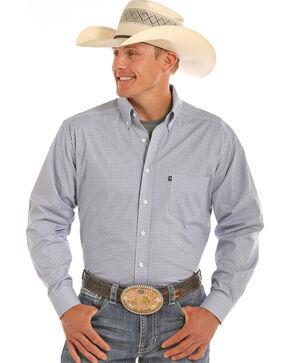 Tuf Cooper Men's Blue Stretch Printed Shirt , Blue, hi-res