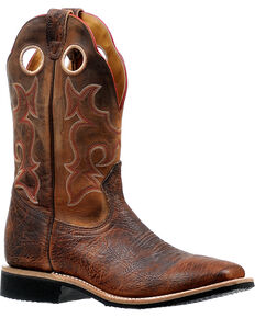 Boulet Men's Virginia Mesquite Stockman Cowboy Boots - Square Toe, Brown, hi-res