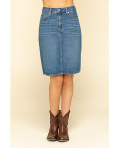 Levi's Women's Medium Wash Classic Denim Skirt , Blue, hi-res