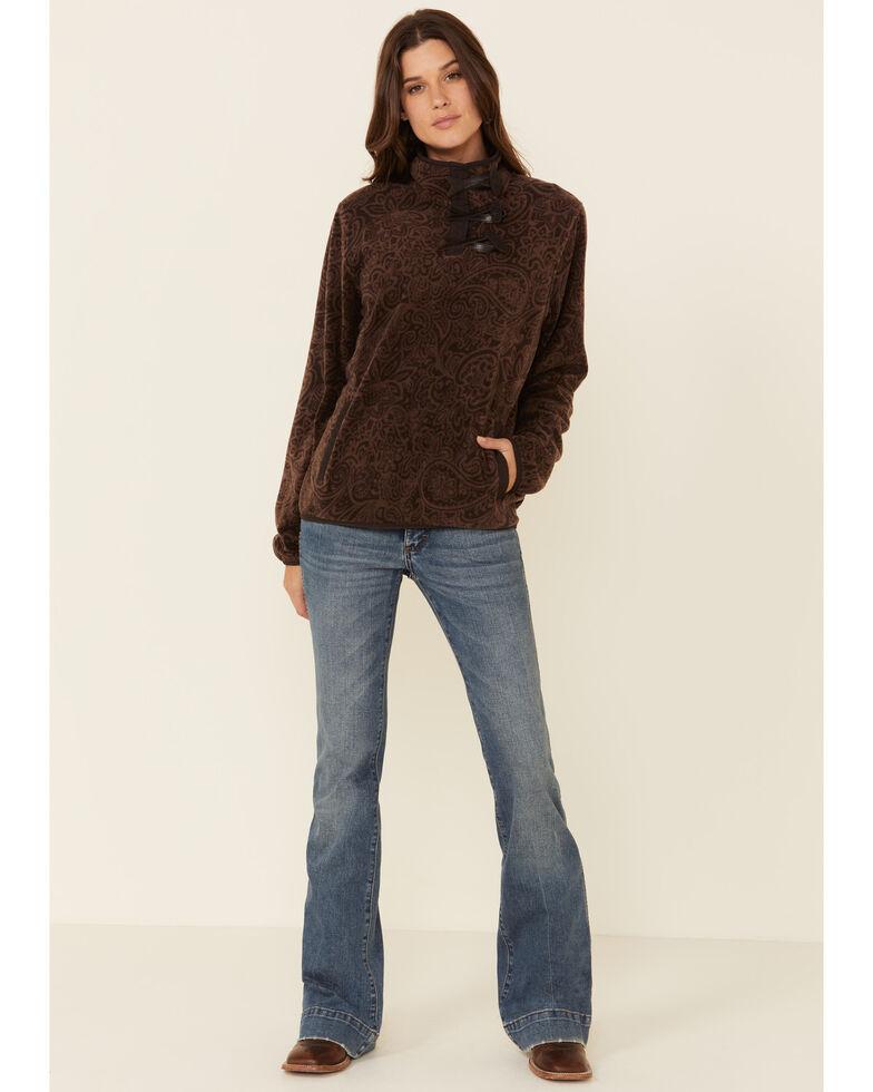 Cinch Women's Paisley Print Fleece Pullover , Brown, hi-res