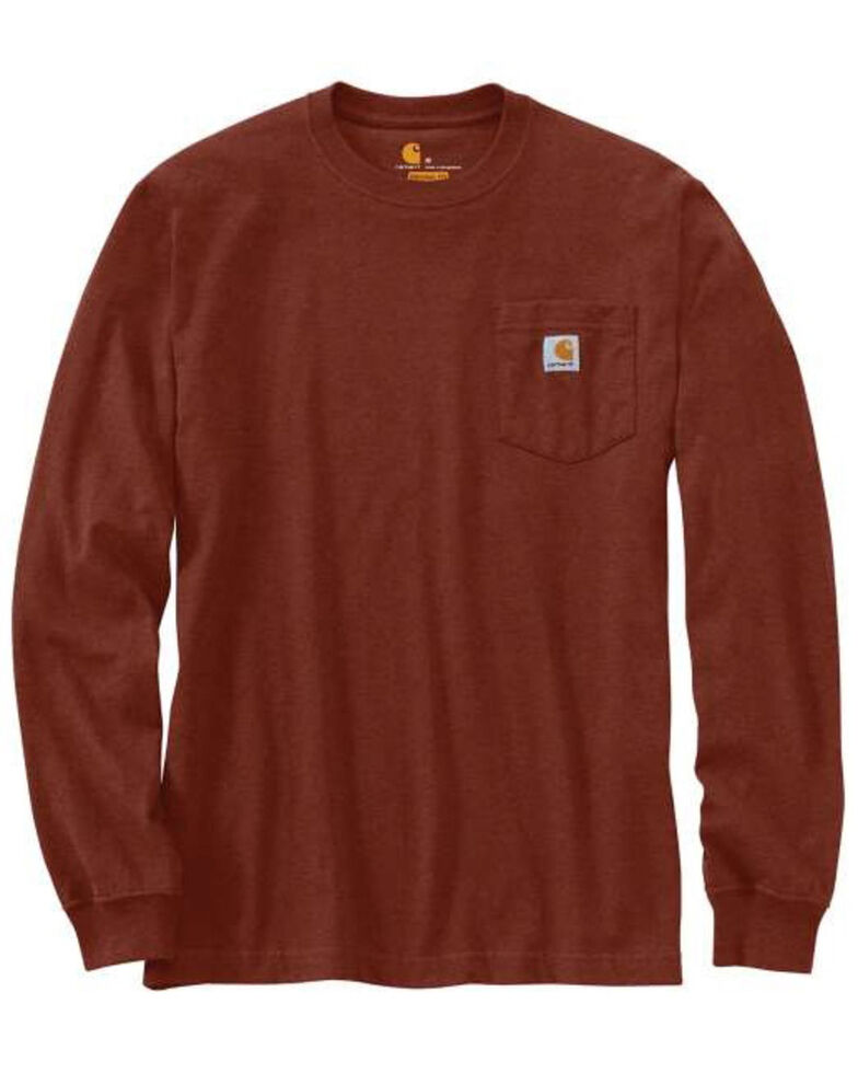 Carhartt Men's Iron Ore Solid Pocket Long Sleeve Work T-Shirt - Tall , Ore Heather, hi-res