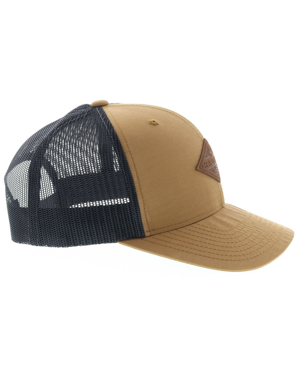 HOOey Men's Tan Graphite Habitat Leather Patch Ball Cap , Tan, hi-res