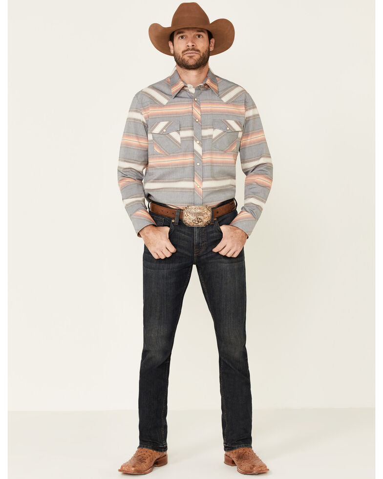 Rock & Roll Denim Men's Vintage 46 Navy Striped Long Sleeve Western Shirt , Navy, hi-res