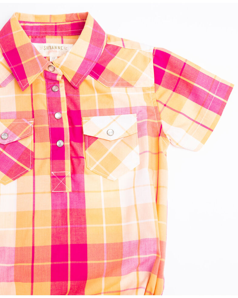 Shyanne Infant Girls' Orange & Pink Medium Plaid Snap Onesie, Orange, hi-res