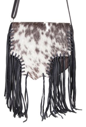 Scully Hair-on-Hide Calf Knotted Fringe Shoulder Bag, Animal Prt, hi-res