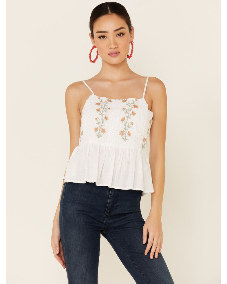Patrons of Peace Women's Margo Floral Embroidered Cami Top , White, hi-res