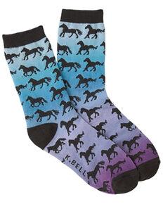 K. Bell Women's Horse Sunset Crew Socks, Blue, hi-res