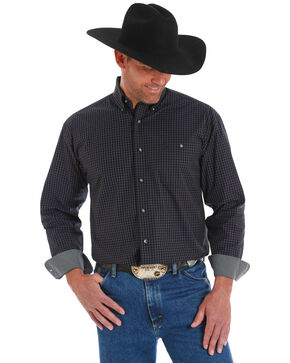 George Strait by Wrangler Men's Black Small Plaid Long Sleeve Western Shirt , Black, hi-res