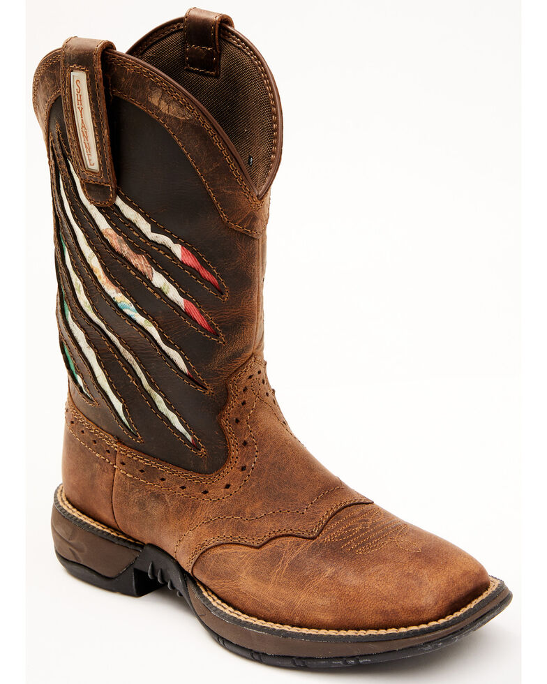 Shyanne Women's Xero Lite Mexican FLag Western Boots - Wide Square Toe, Brown, hi-res