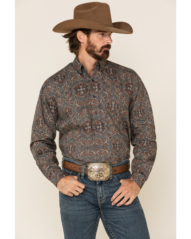 Stetson Men's Grey Antique Paisley Print Long Sleeve Western Shirt , Grey, hi-res