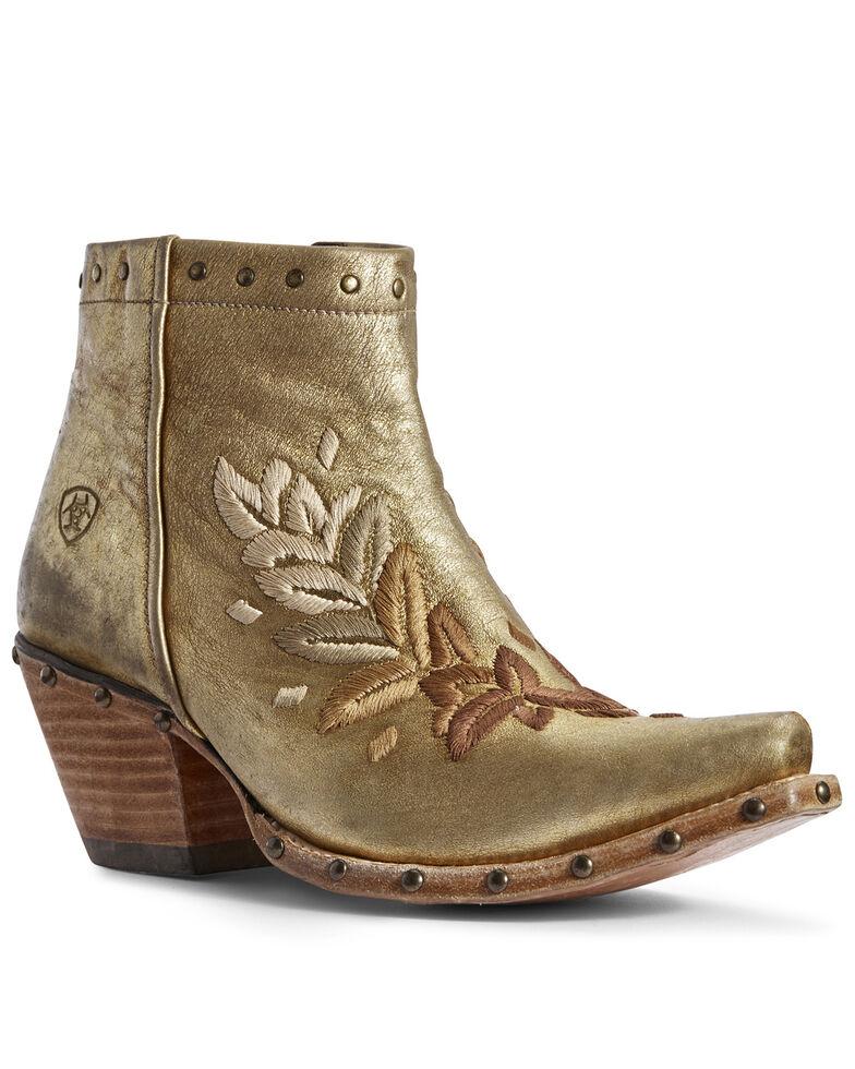 Ariat Women's Gold Topaz Fashion Booties - Snip Toe, Gold, hi-res