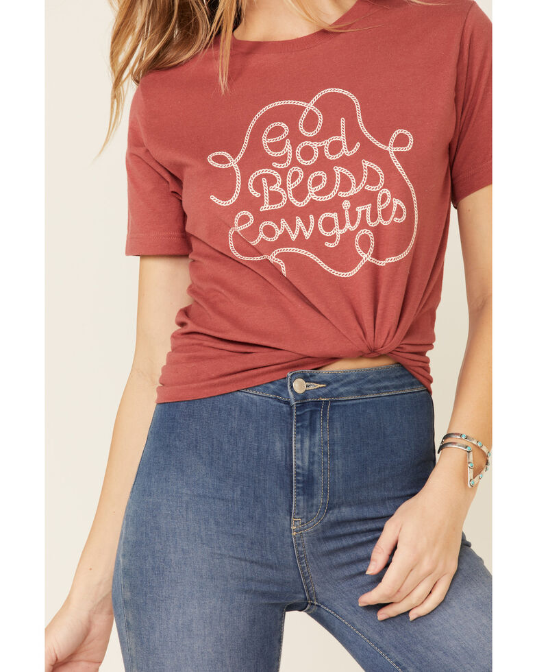 Ali Dee Women's God Bless Cowgirls Graphic Tee , Rust Copper, hi-res