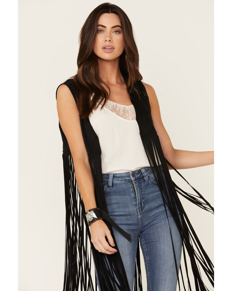 Idyllwind Women's Sway to The Music Studded Fringe Vest, Black, hi-res