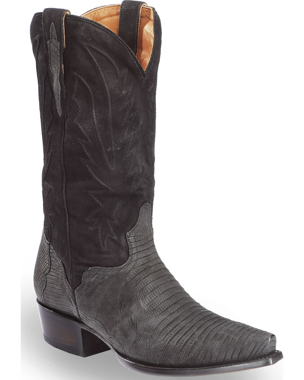 El Dorado Men's Handmade Lizard Black Cowboy Boots - Snip Toe , Black, hi-res