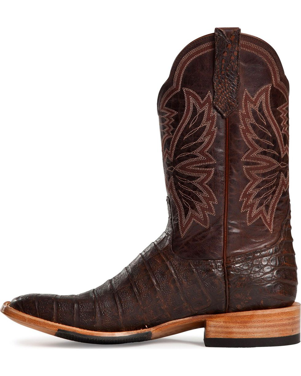 Cinch Antique Brown Caiman Cowgirl Boots - Square Toe, Antique Brown, hi-res