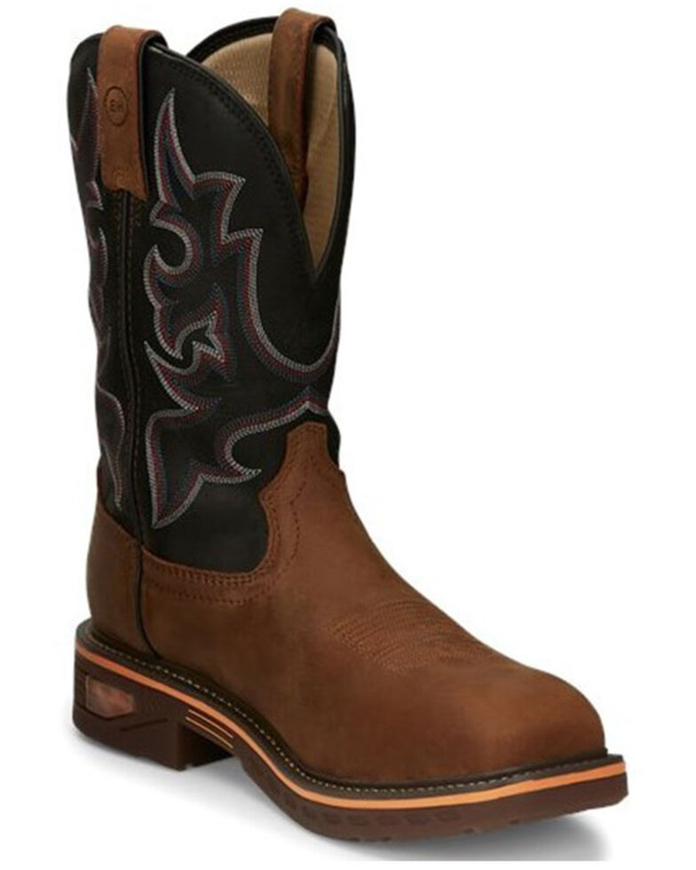 Justin Men's Resistor Western Work Boots - Composite Toe, Brown, hi-res