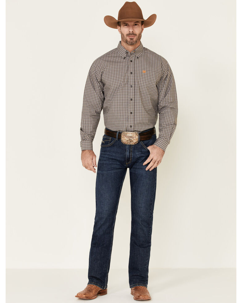 Cinch Men's Small Grey Plaid Long Sleeve Western Shirt , Black, hi-res