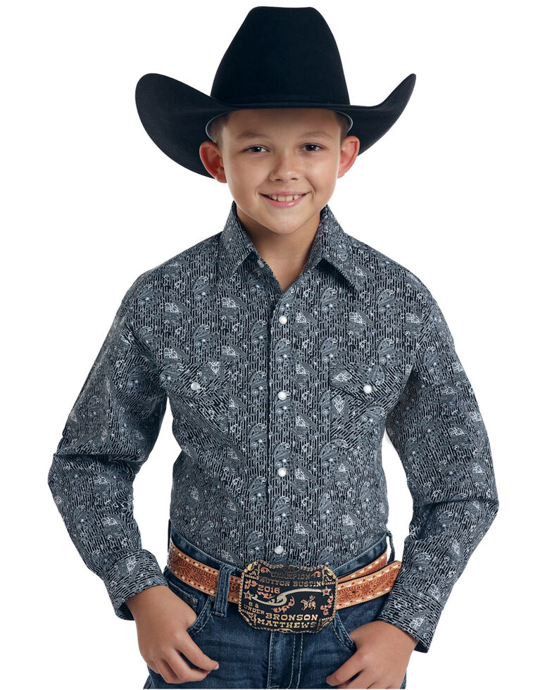 Rough Stock By Panhandle Boys' Atalaya Vintage Print Long Sleeve Western Shirt , Black, hi-res