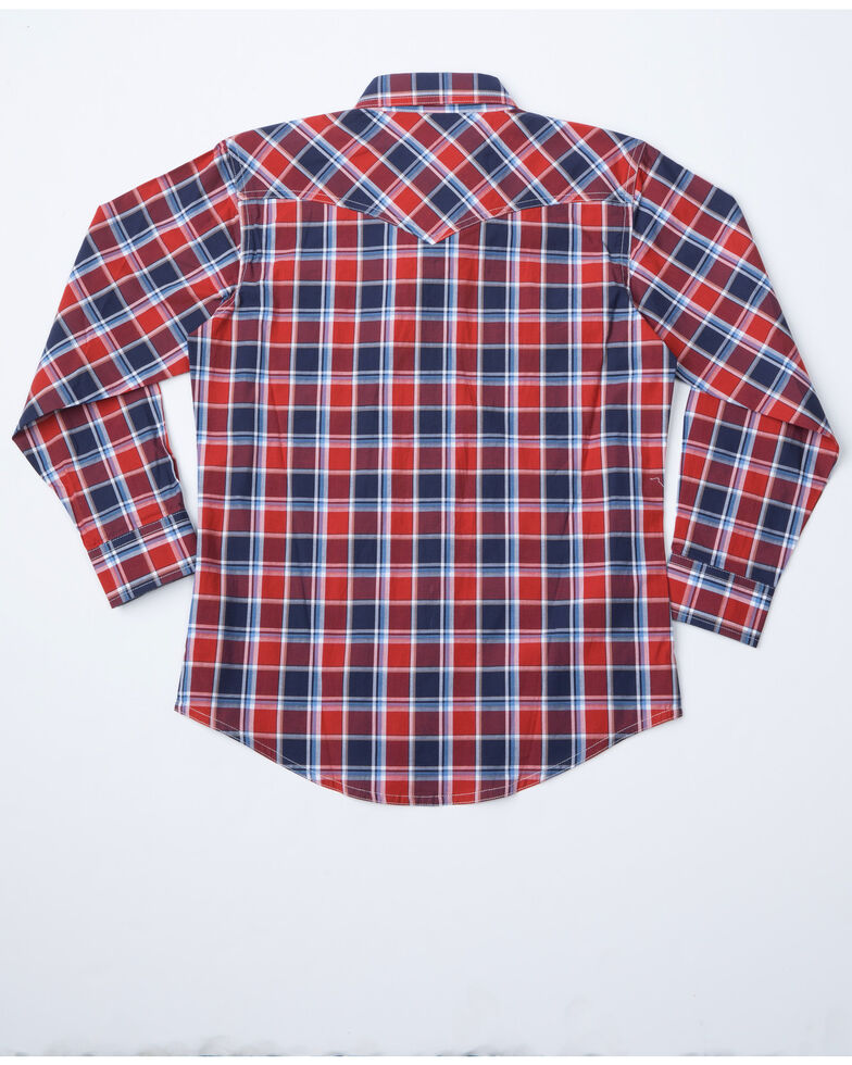 Wrangler Retro Boys' Paprika Plaid Long Sleeve Western Shirt, Red, hi-res