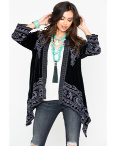 Johnny Was Women's Black Hirsch Velvet Draped Cardigan, Black, hi-res