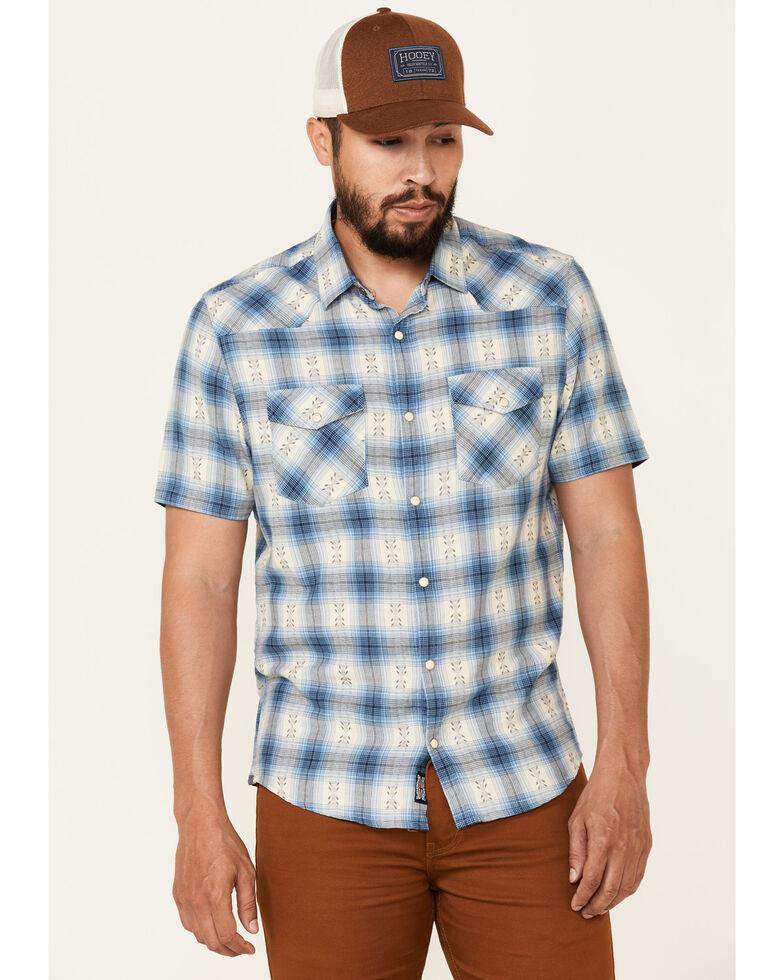 Flag & Anthem Men's Blue Greensboro Plaid Short Sleeve Snap Western Shirt , Blue, hi-res