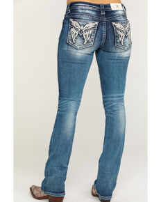 Miss Me Women's Medium Wash Faux Flap Butterfly Bootcut Jeans, Blue, hi-res