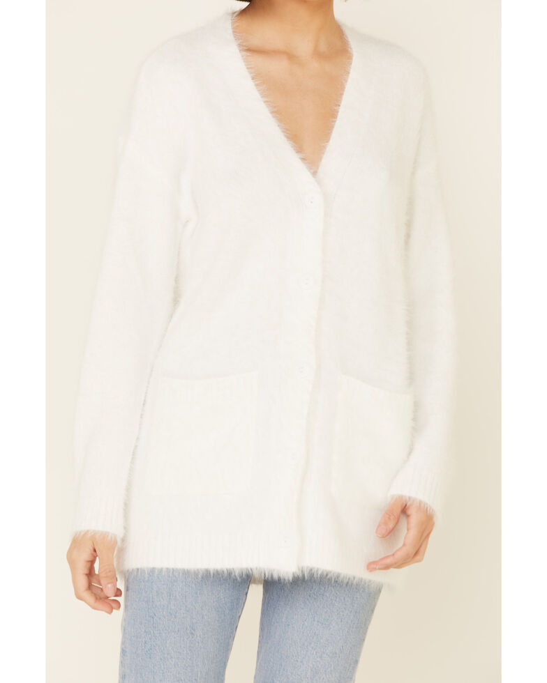 PJ Salvage Women's Feather Knit Button Front Cardigan , Ivory, hi-res