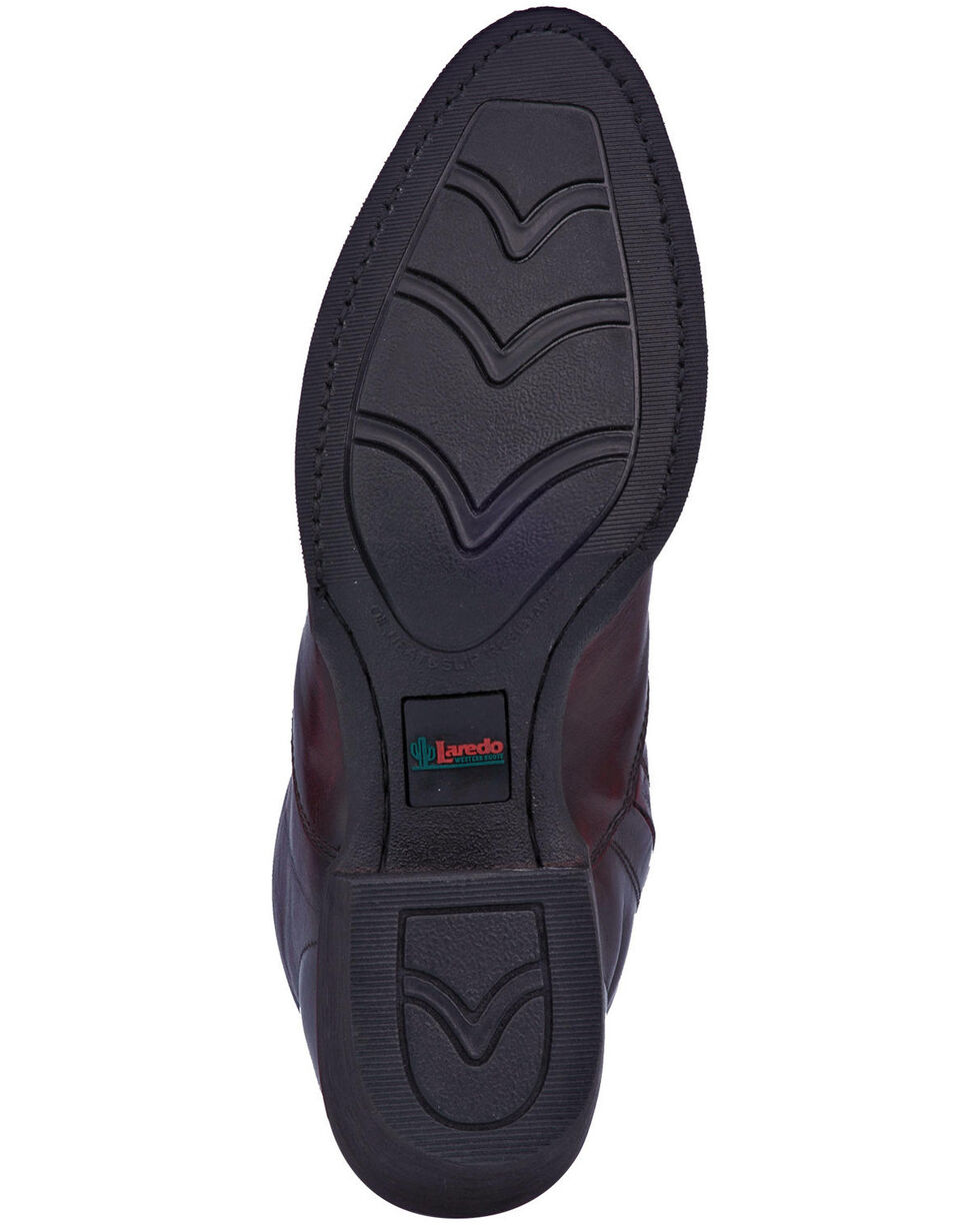Laredo Men's Antique Black Cherry Side Zipper Western Boots - Round Toe, Black Cherry, hi-res