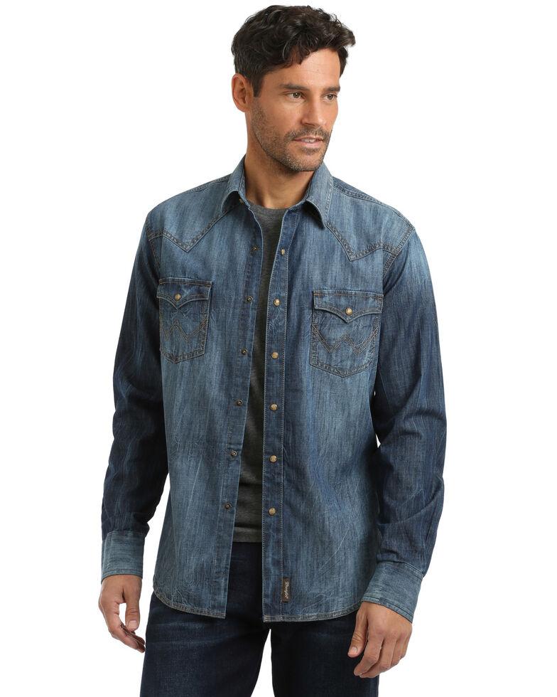 Wrangler Retro Men's Premium Snap Denim Long Sleeve Western Shirt , Indigo, hi-res