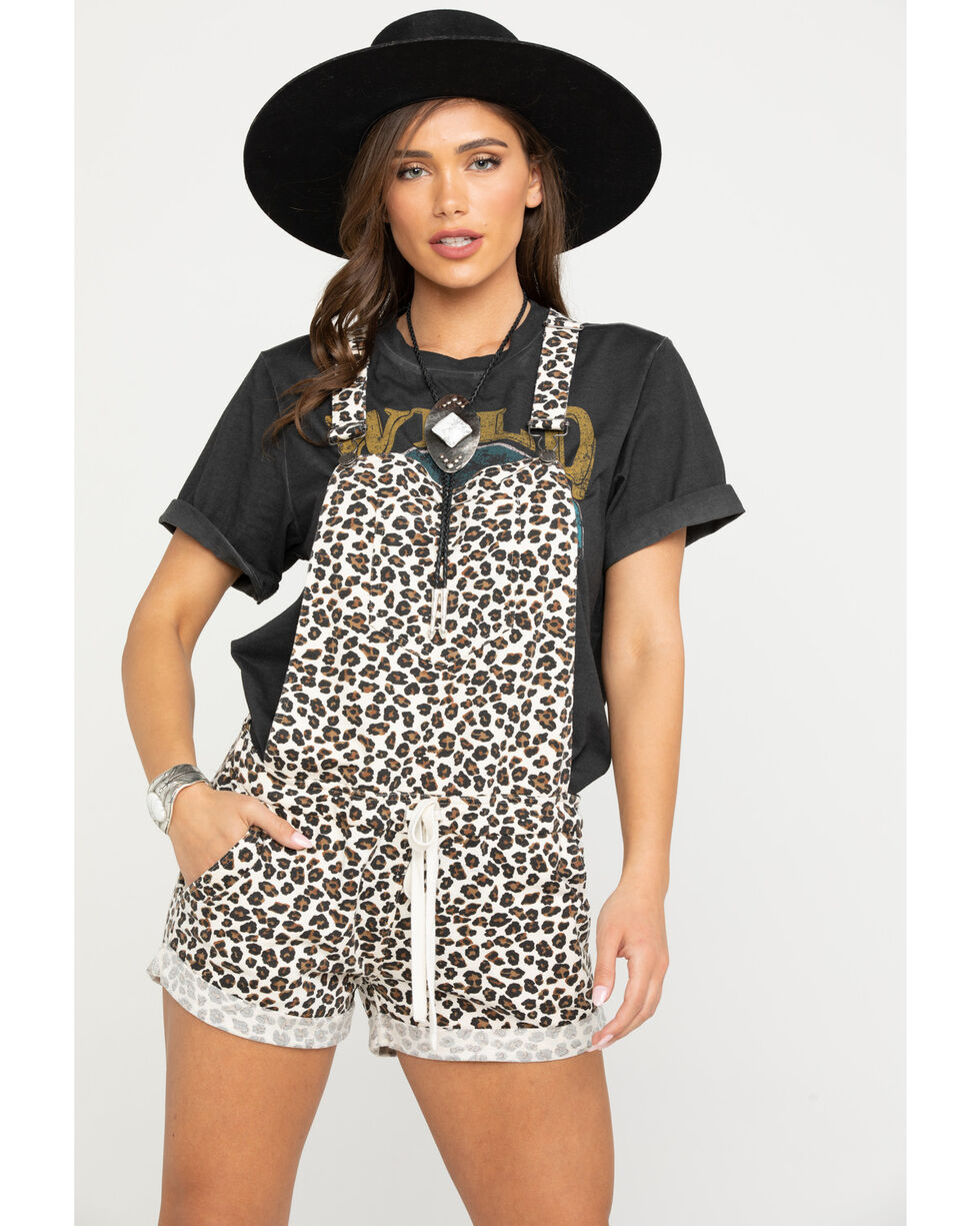 Z Supply Women's The Multi Leopard Short Overalls , Natural, hi-res