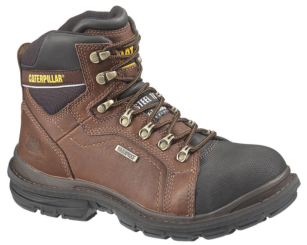 "Caterpillar 6"" Manifold Waterproof Lace-Up Work Boots - Steel Toe, Oak, hi-res"