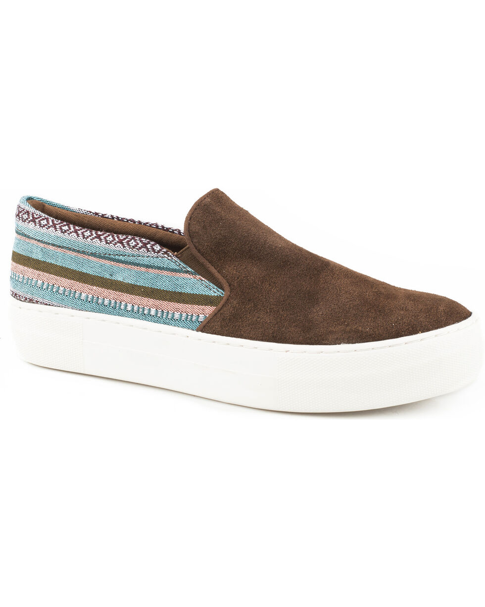 Roper Women's Darcy Brown Suede Woven Stripe Slip On Shoes - Round Toe, Brown, hi-res