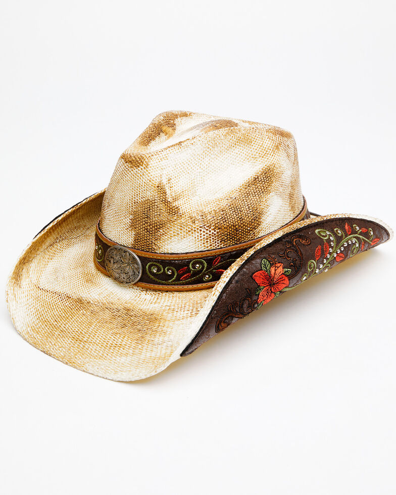 Shyanne Women's Natural O Rosey Straw Western Hat , Natural, hi-res