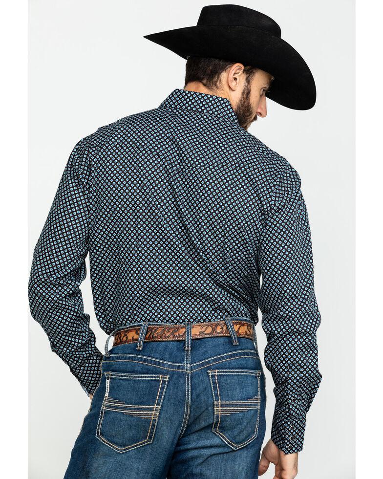 Roper Men's Black Amarillo North Foulard Geo Print Long Sleeve Western Shirt , Black, hi-res