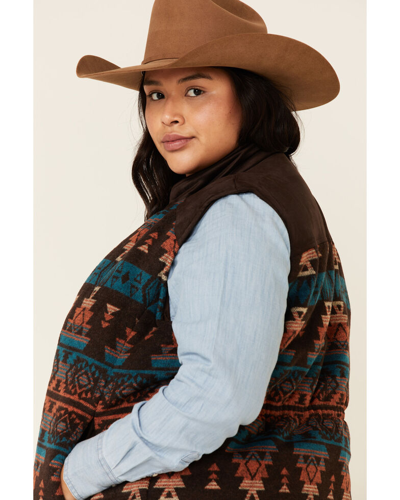 Outback Trading Co. Women's Brown Aztec Maybelle Vest - Plus , Multi, hi-res