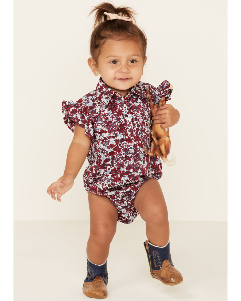 Shyanne Infant Girls' Red Floral Print Ruffle Sleeve Onesie , Red, hi-res