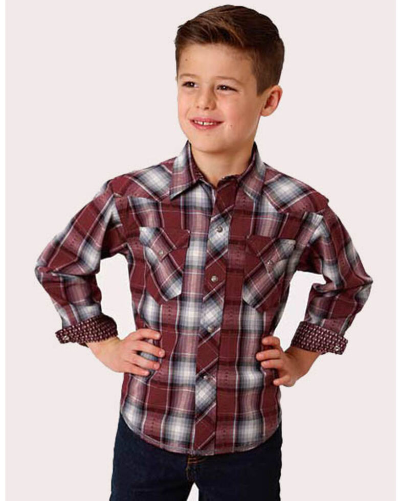 Roper Boys' Cardinal Dobby Plaid Long Sleeve Western Shirt , Red, hi-res