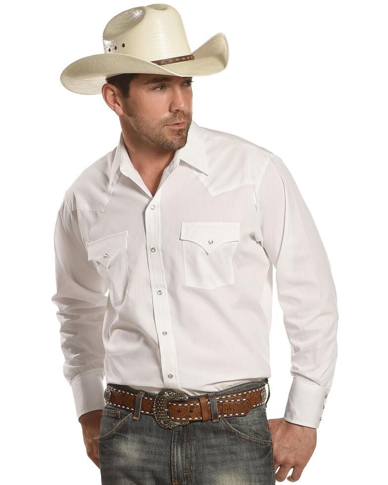 Ely Walker Men's Solid Long Sleeve Western Shirt, White, hi-res