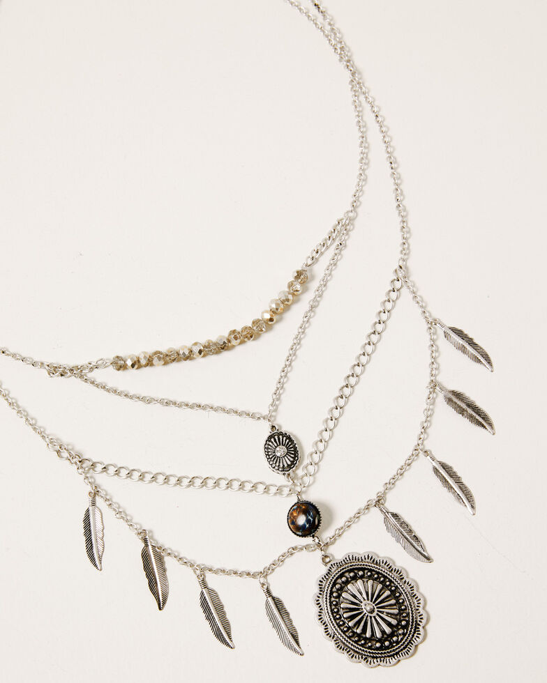 Shyanne Women's Claire Multi-Layered Concho Necklace, Silver, hi-res