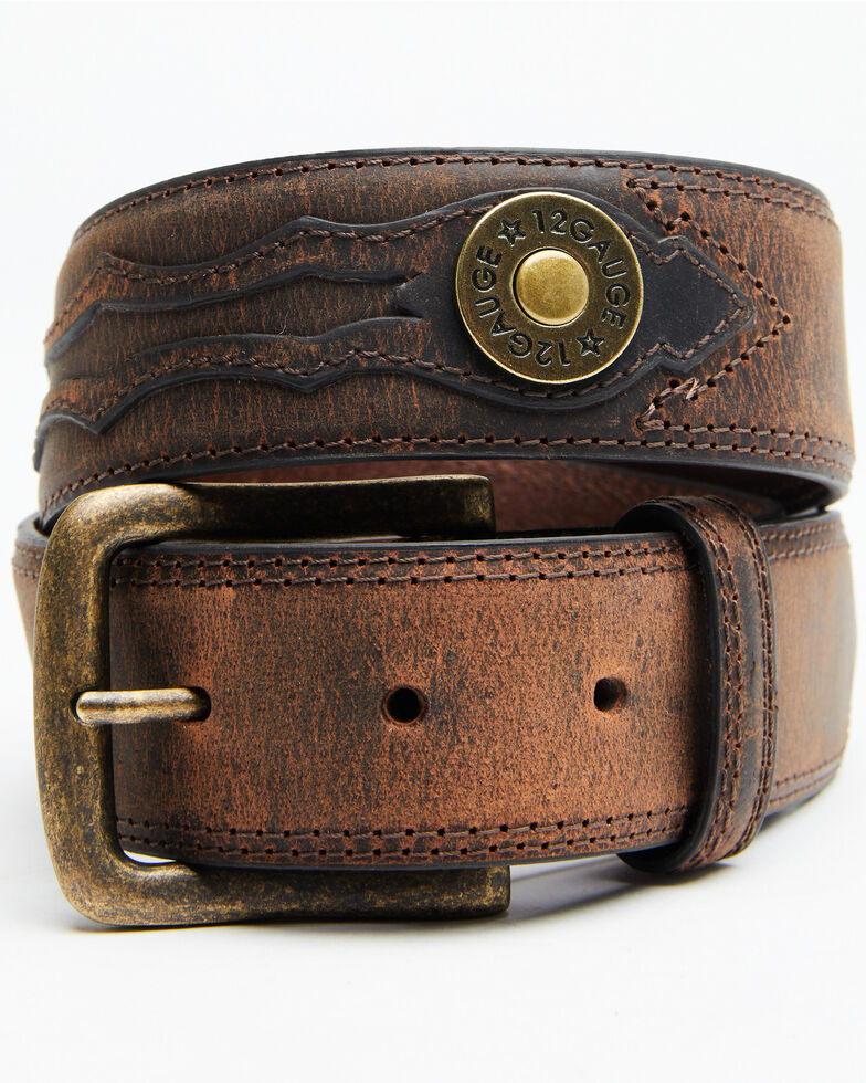 Cody James Men's 12 Gauge Ornament Belt, Brown, hi-res