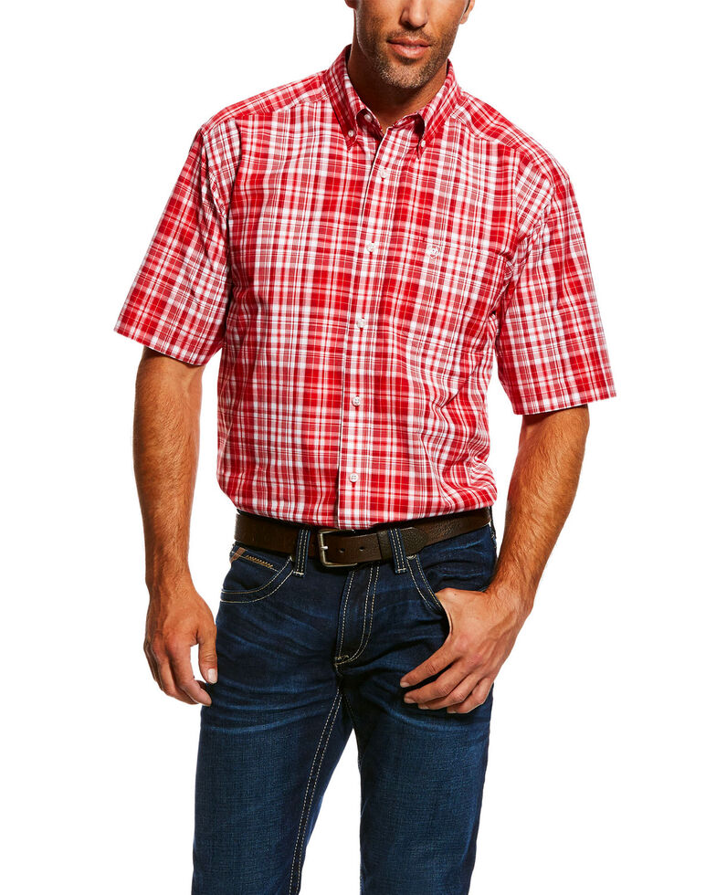 Ariat Men's Obrian Large Plaid Short Sleeve Western Shirt , Red, hi-res