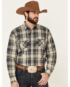 Ariat Men's Axel Large Ombre Retro Plaid Long Sleeve Western Shirt , Blue, hi-res