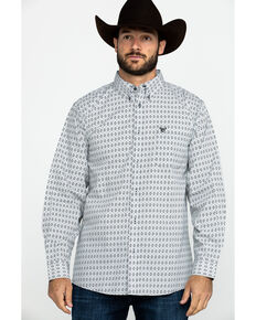 Cowboy Hardware Men's Diamond Love Print Long Sleeve Western Shirt , Black, hi-res