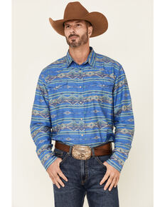 Roper Men's Blue Horizontal Aztec Stripe Long Sleeve Snap Western Shirt , Blue, hi-res