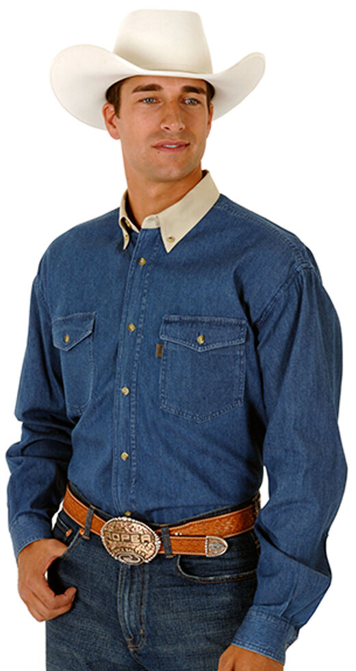 Roper Contrasting Collar Twill Western Shirt - Big & Tall, Denim, hi-res
