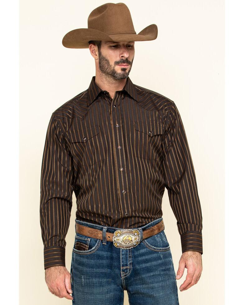 Panhandle Men's Brown Satin Dobby Striped Long Sleeve Western Shirt , Brown, hi-res