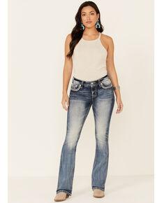 Miss Me Women's Ocean Crossed Bootcut Jeans, Blue, hi-res