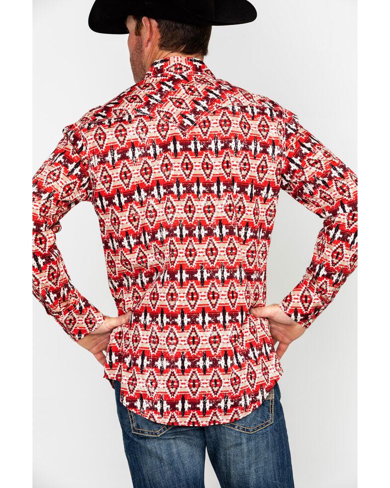 Rock & Roll Denim Men's Distressed Aztec Print Long Sleeve Western Shirt , Red, hi-res